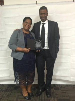 Female Winner of the Learning, Skills & Employment Award Aquiline Chivinge & her partner Patrick Chivinge