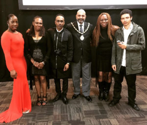 Group photo with the Lord Mayor of Nottingham Mohamed Saghir (from right to left Lyam Ward, Maria Ward, Mohammed Saghir, Jamel Watson, Yvonne Williams & Davia Mckoy