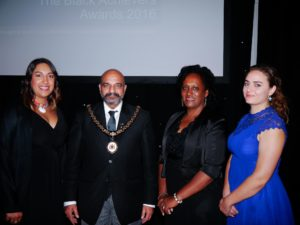In the middle the Lord Mayor of Nottingham Mohammed Saghir & Deputy Lieutenant of Nottinghamshire Veronica Pickering